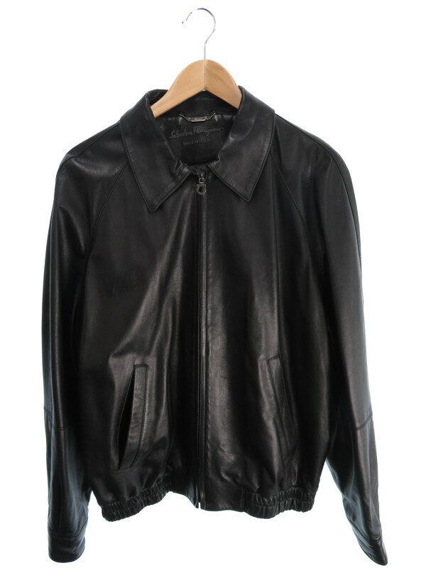 【Salvatore Ferragamo】【アウター】フェラガモ『レザージップジャケット size50』メンズ 1週間保証【中古】