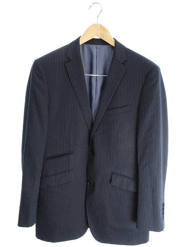【BURBERRY BLACK LABEL】【上下セット】バーバリーブラックレーベル『ストライプ柄スーツ size38L』メンズ セットアップ 1週間保証【中古】
