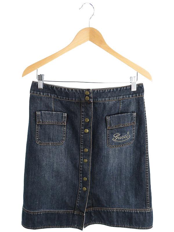 【GUCCI】【ボトムス】グッチ『デニム巻きスカート size42』レディース 1週間保証【中古】