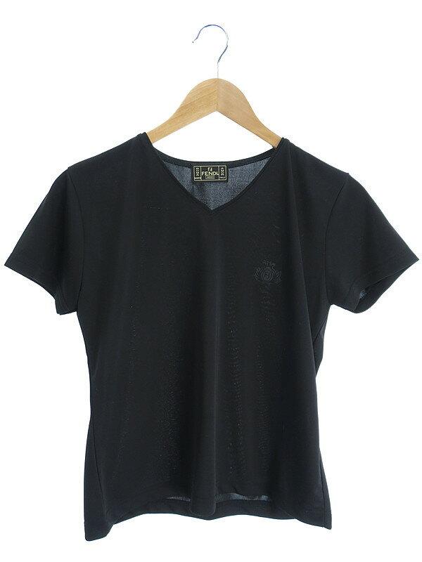 【FENDI】【トップス】フェンディ『半袖VネックTシャツ』レディース カットソー 1週間保証【中古】