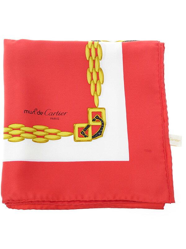【must de Cartier】カルティエ『シルクスカーフ』レディース ストール 1週間保証【中古】