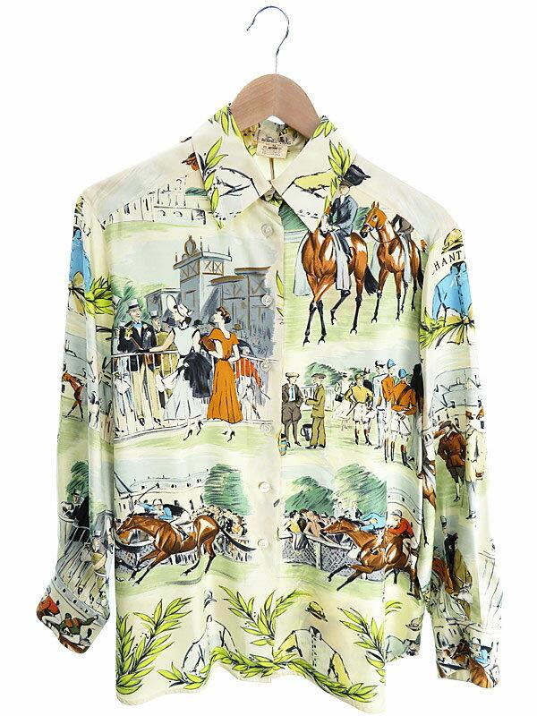 【HERMES】【トップス】エルメス『長袖シルクシャツ size38』レディース 1週間保証【中古】