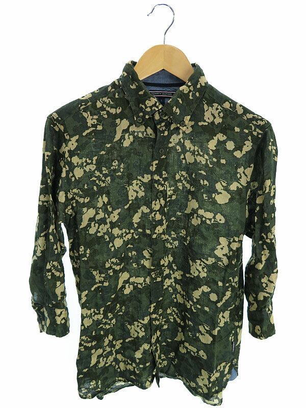 【TOMMY HILFIGER】【トップス】トミーヒルフィガー『七分袖リネンシャツ sizeS』メンズ 1週間保証【中古】