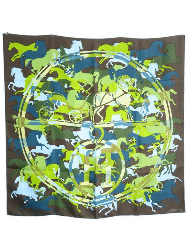 【HERMES】【EX LIBRIS EN CAMOUFLAGE】エルメス『カレ90 エクスリブリスのカモフラージュ』レディース スカーフ 1週間保証【中古】