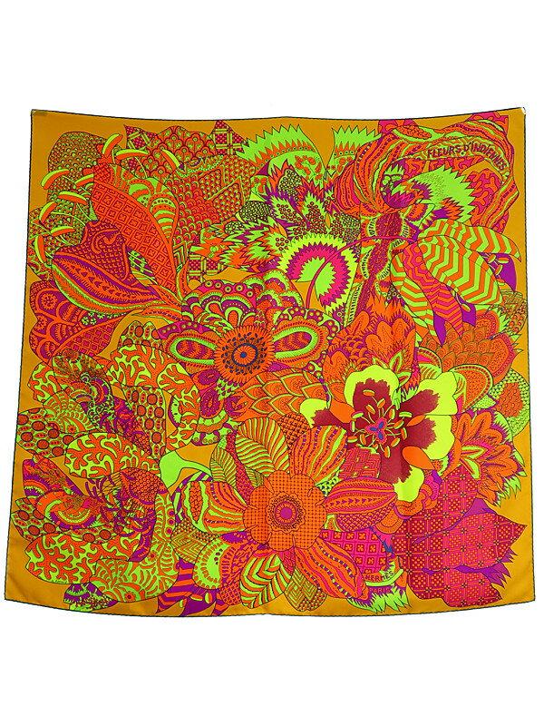 【HERMES】【Fleurs Dindiennes】エルメス『カレ90 インドの花』レディース スカーフ 1週間保証【中古】