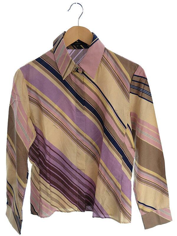 【GUCCI】【トップス】グッチ『長袖シルクシャツ size42』レディース 1週間保証【中古】