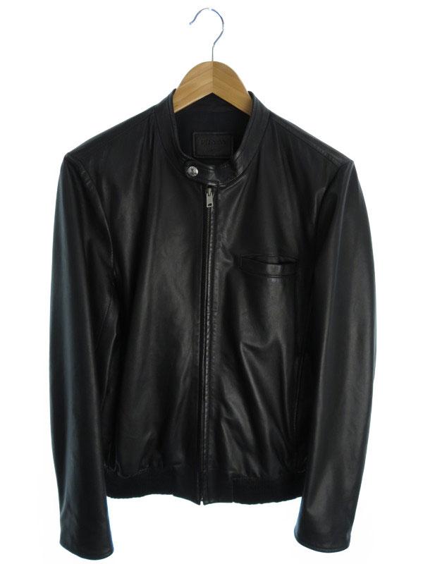 【PRADA】【アウター】プラダ『レザージャケット size46』メンズ 革ジャン 1週間保証【中古】