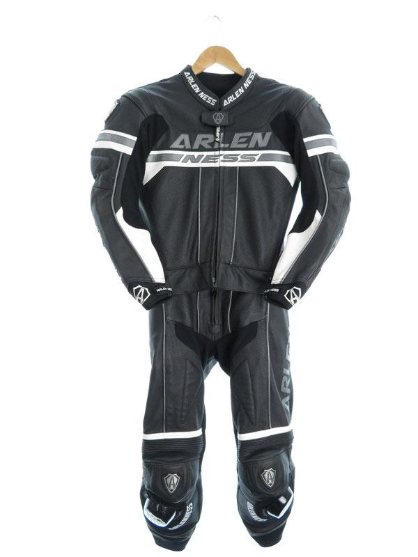【ARLENNESS】【つなぎ】【プロテクター入り】アレンネス『レザーセパレートレーシングスーツ size48』メンズ オールインワン 1週間保証【中古】