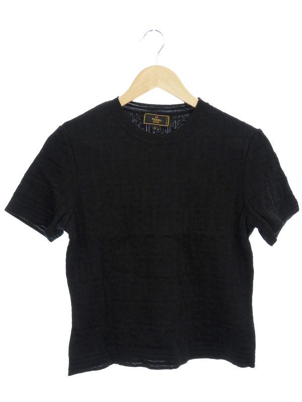 【FENDI】【トップス】フェンディ『ズッカ柄 半袖Tシャツ size46』レディース カットソー 1週間保証【中古】