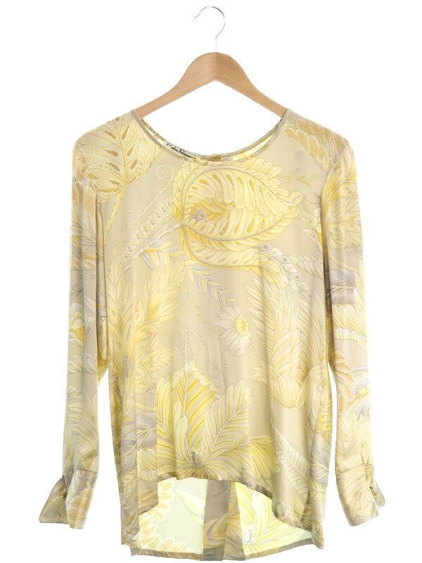 【Salvatore Ferragamo】【トップス】フェラガモ『シルクシャツ size40』レディース カットソー 1週間保証【中古】