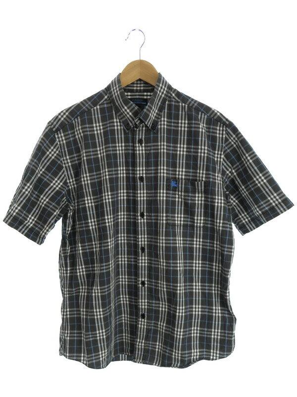 【BURBERRY BLUE LABEL】バーバリーブルーレーベル『チェック柄半袖ボタンダウンシャツ sizeL』メンズ 1週間保証【中古】