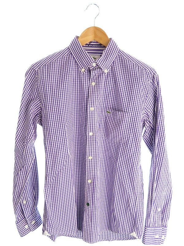【LACOSTE】【トップス】ラコステ『チェック柄 長袖ボタンダウンシャツ size3』メンズ 長袖シャツ 1週間保証【中古】