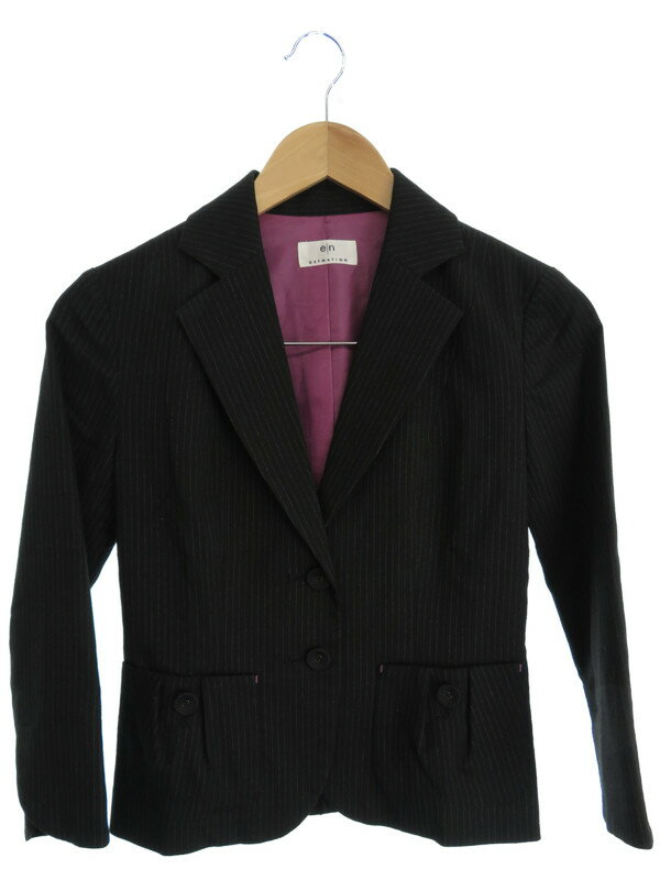 【ESTNATION】【アウター】エストネーション『ストライプ柄七分袖ジャケット size36』レディース 1週間保証【中古】