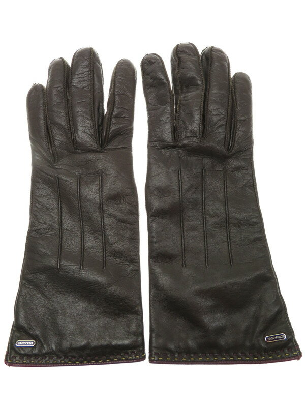 【COACH】コーチ『レザーグローブ size7』レディース 手袋 1週間保証【中古】