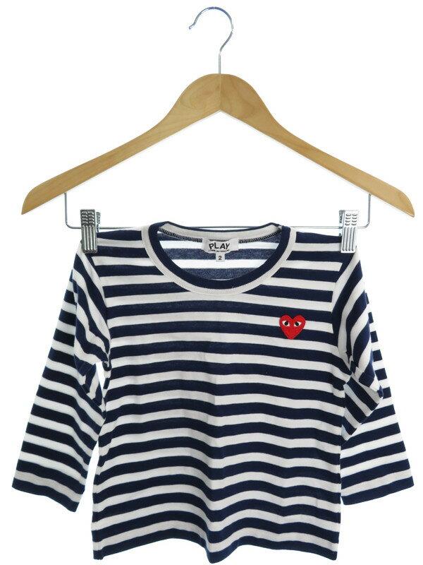 【PLAY COMME des GARCONS】【子供服】【ベビー】【男の子】プレイコムデギャルソン『ボーダー柄長袖Tシャツ size2』メンズ カットソー 1週間保証【中古】