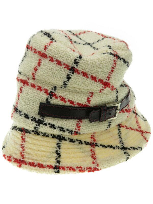 【misaharada】ミサハラダ『チェック柄 飾りベルト付きハット』レディース 帽子 1週間保証【中古】
