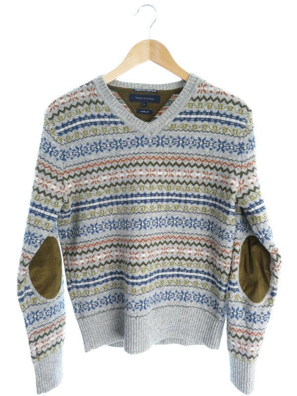 【TOMMY HILFIGER】【トップス】トミーヒルフィガー『Vネック長袖ニット sizeS』メンズ セーター 1週間保証【中古】