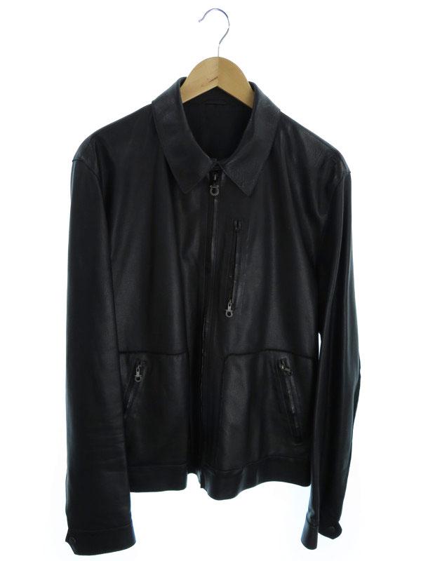 【Salvatore Ferragamo】【アウター】フェラガモ『レザージャケット size52』メンズ 革ジャン 1週間保証【中古】