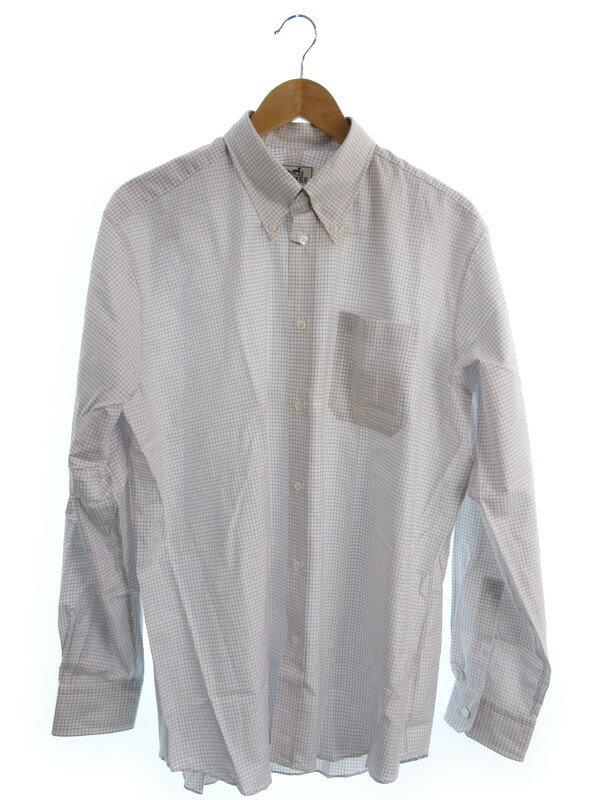 【HERMES】【トップス】エルメス『チェック柄長袖シャツ size41/16』メンズ 1週間保証【中古】
