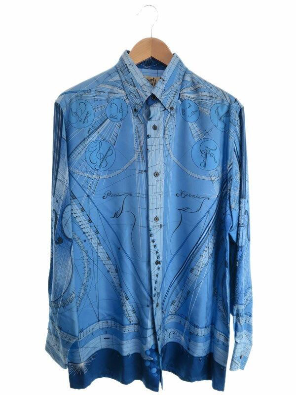 【HERMES】【トップス】エルメス『シルク長袖ボタンダウンシャツ size40』メンズ 1週間保証【中古】