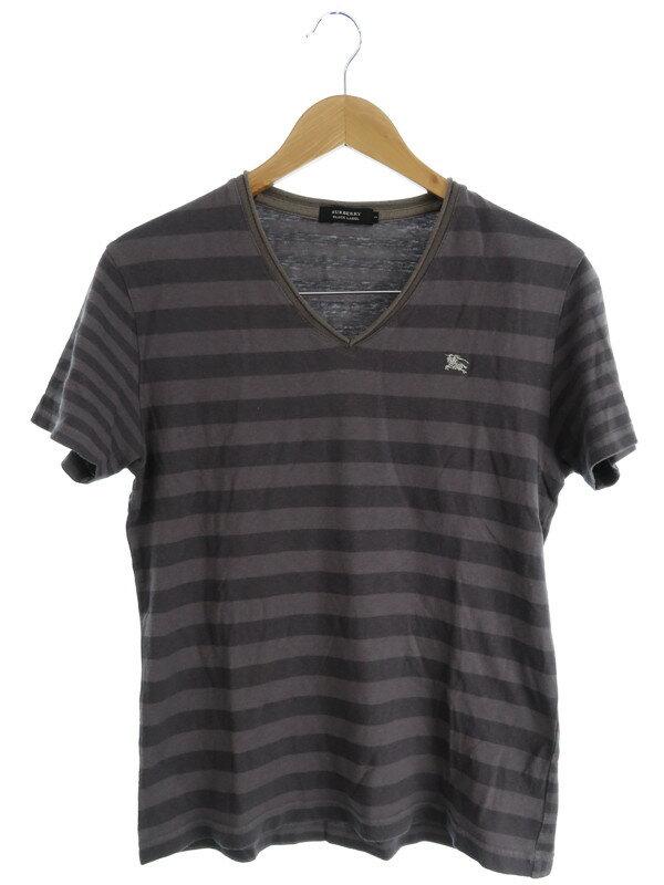 【BURBERRY BLACK LABEL】【トップス】バーバリーブラックレーベル『ボーダー柄 Vネック半袖Tシャツ size2』メンズ 1週間保証【中古】
