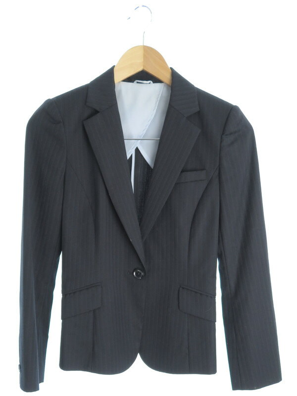 【P.S.FA】【上下セット】パーフェクトスーツファクトリー『ストライプ柄パンツスーツ size7AR』レディース セットアップ 1週間保証【中古】