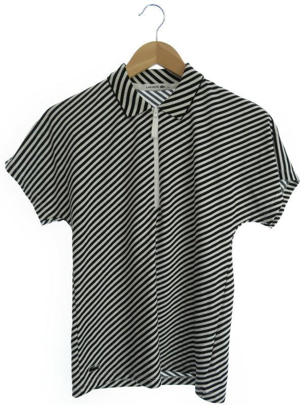 【LACOSTE】【トップス】ラコステ『ストライプ柄ハーフジップ 半袖ポロシャツ size34』レディース 1週間保証【中古】
