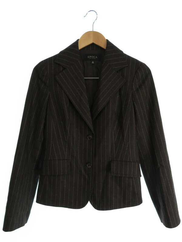 【EPOCA】【アウター】エポカ『ストライプ柄テーラードジャケット size40』レディース ブレザー 1週間保証【中古】