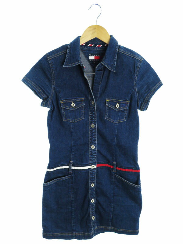 【tommy jeans】トミージーンズ『半袖デニムワンピース sizeM』レディース チュニック 1週間保証【中古】