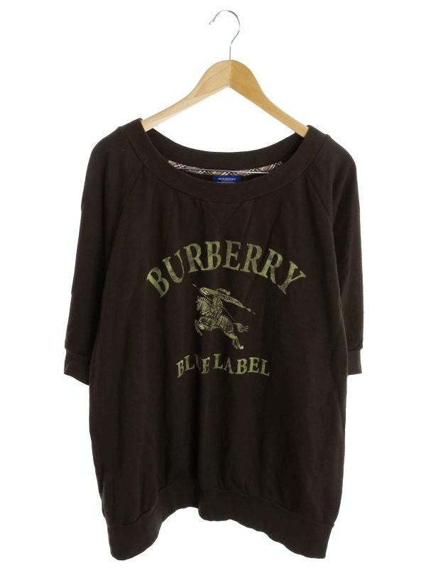 【BURBERRY BLUE LABEL】【トップス】バーバリーブルーレーベル『ビッグシルエット 半袖スウェット size38』レディース トレーナー 1週間保証【中古】