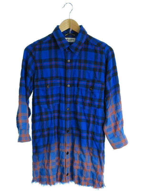 【SAINT LAURENT】【トップス】サンローラン『チェック柄長袖チュニックシャツ sizeXS』メンズ 1週間保証【中古】