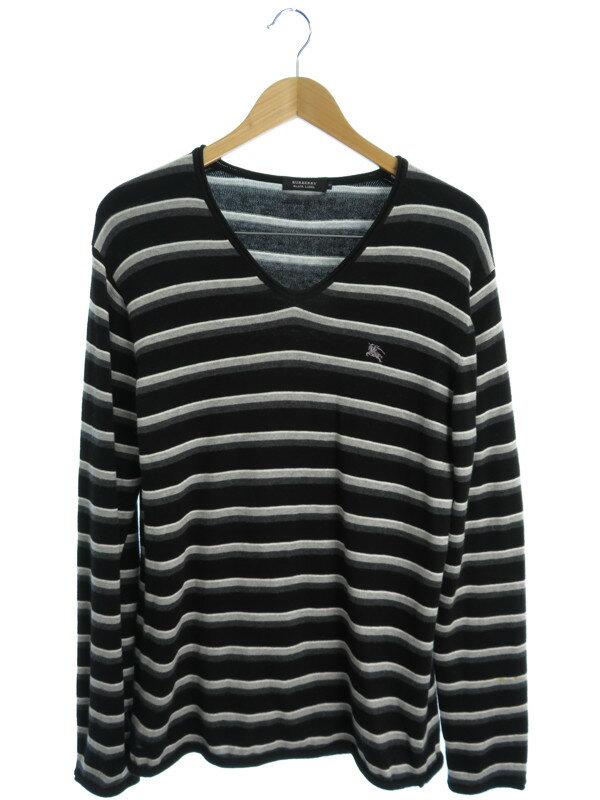 【BURBERRY BLACK LEBEL】【トップス】バーバリーブラックレーベル『ボーダー柄Vネック長袖ニット size3』メンズ セーター 1週間保証【中古】