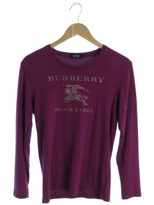 【BURBERRY BLACK LABEL】【トップス】バーバリーブラックレーベル『ロゴ入り 長袖Tシャツ size2』メンズ カットソー 1週間保証【中古】
