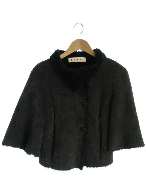 【MARNI】【アウター】マルニ『ポンチョ風ムートンジャケット size38』レディース 七分袖ジャケット 1週間保証【中古】