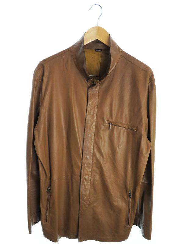 【Giorgio Armani】【アウター】ジョルジオアルマーニ『レザージャケット size54』メンズ 革ジャン 1週間保証【中古】