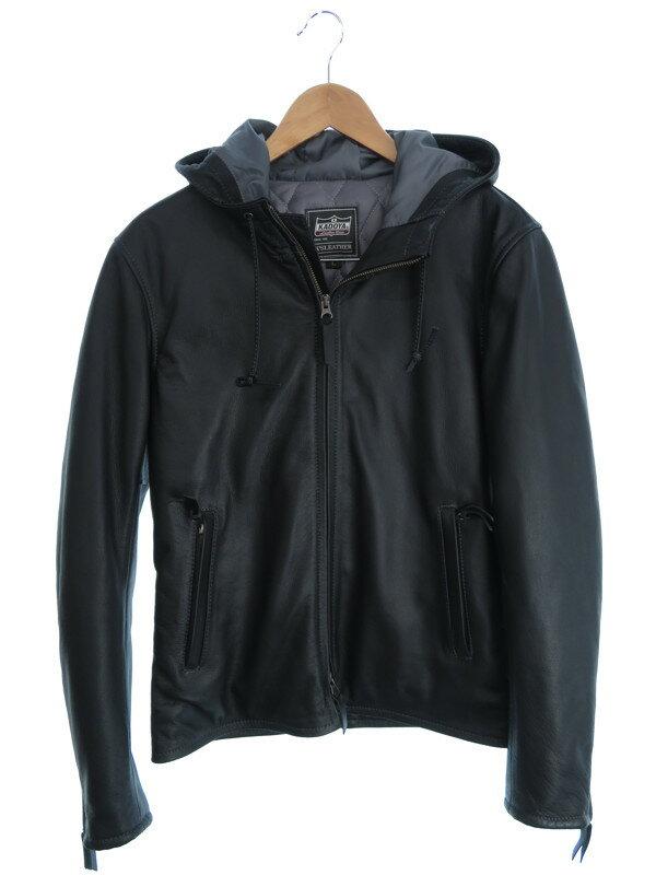 【KADOYA】【アウター】カドヤ『レザージップパーカージャケット sizeL』メンズ 革ジャン 1週間保証【中古】