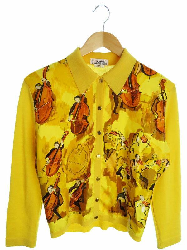 【HERMES】【トップス】エルメス『シルク切替ニット長袖シャツ size42』レディース ブラウス 1週間保証【中古】
