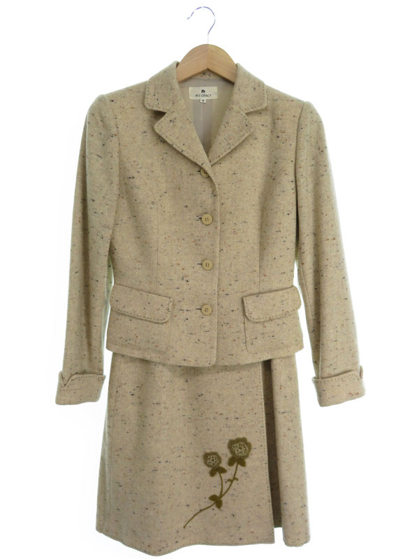 【M'S GRACY】【上下セット】エムズグレイシー『スカートスーツ size9AR』レディース セットアップ 1週間保証【中古】