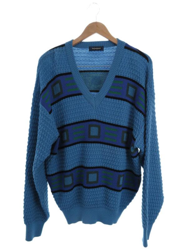 【Yves SAINT LAURENT】【トップス】イヴサンローラン『Vネック長袖ニット sizeL』メンズ セーター 1週間保証【中古】