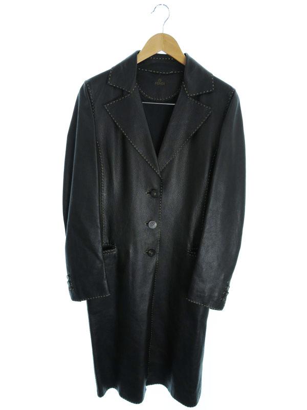 【FENDI】【アウター】フェンディ『レザーコート size42』レディース 革コート 1週間保証【中古】