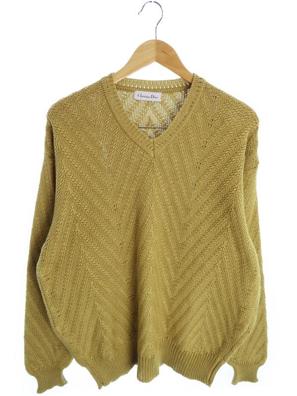 【Christian Dior】【トップス】クリスチャンディオール『コットン長袖ニット sizeL』メンズ セーター 1週間保証【中古】