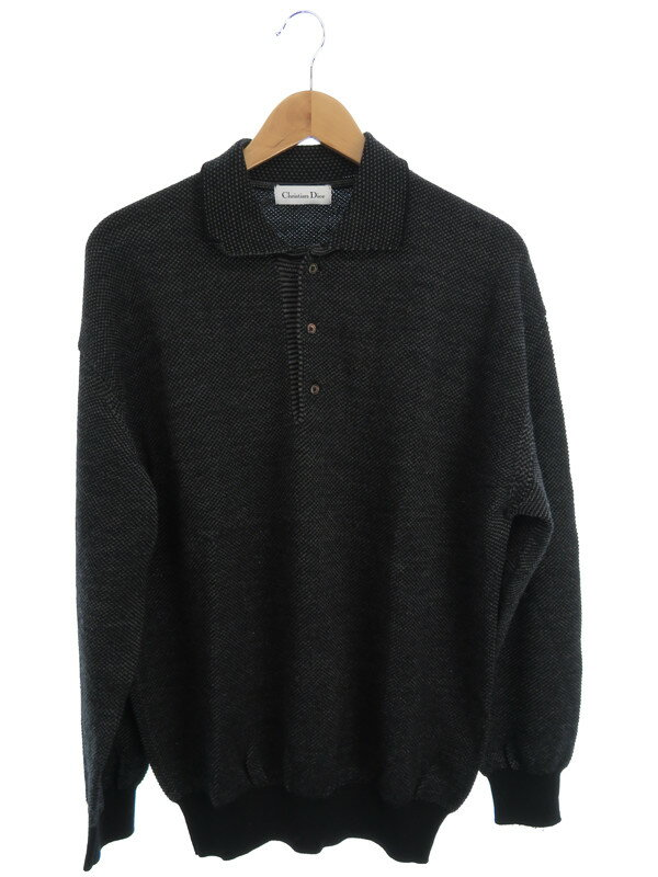 【Christian Dior】【トップス】クリスチャンディオール『長袖ニットポロシャツ sizeL』メンズ セーター 1週間保証【中古】