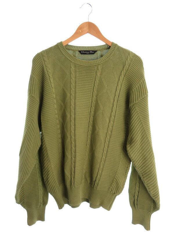 【Christian Dior】【トップス】クリスチャンディオール『コットン長袖ニット sizeM』メンズ セーター 1週間保証【中古】