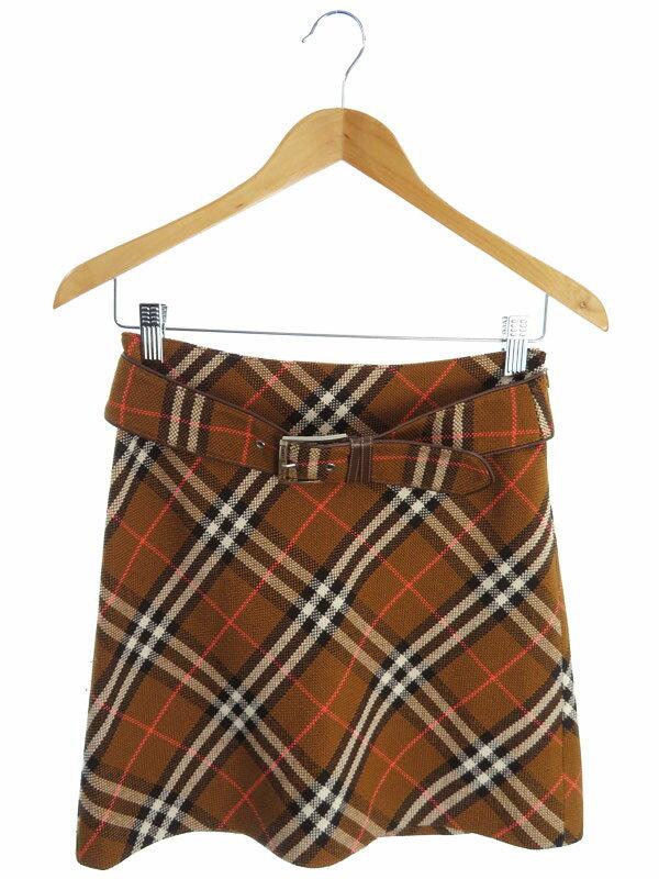 【BURBERRY BLUELABEL】【ボトムス】バーバリーブルーレーベル『ベルト付チェック柄スカート size36』レディース 1週間保証【中古】