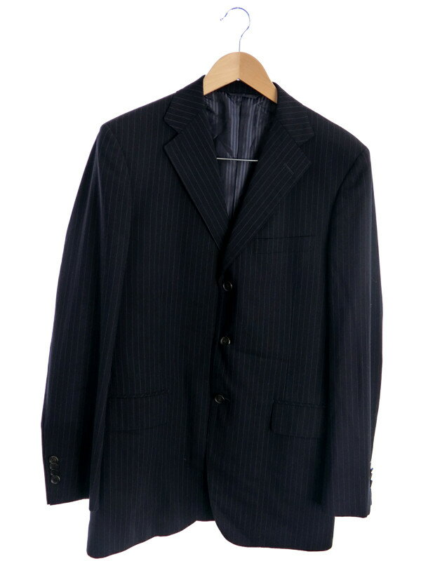 【NEWYORKER】【上下セット】ニューヨーカー『ストライプ柄スーツ sizeYA7』メンズ セットアップ 1週間保証【中古】