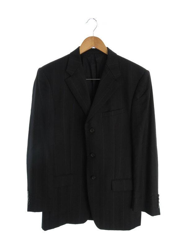 【VERSACE】【セットアップ】【2ピース】ヴェルサーチ『ストライプ柄スーツ上下セット size48R』メンズ シングルスーツ 1週間保証【中古】