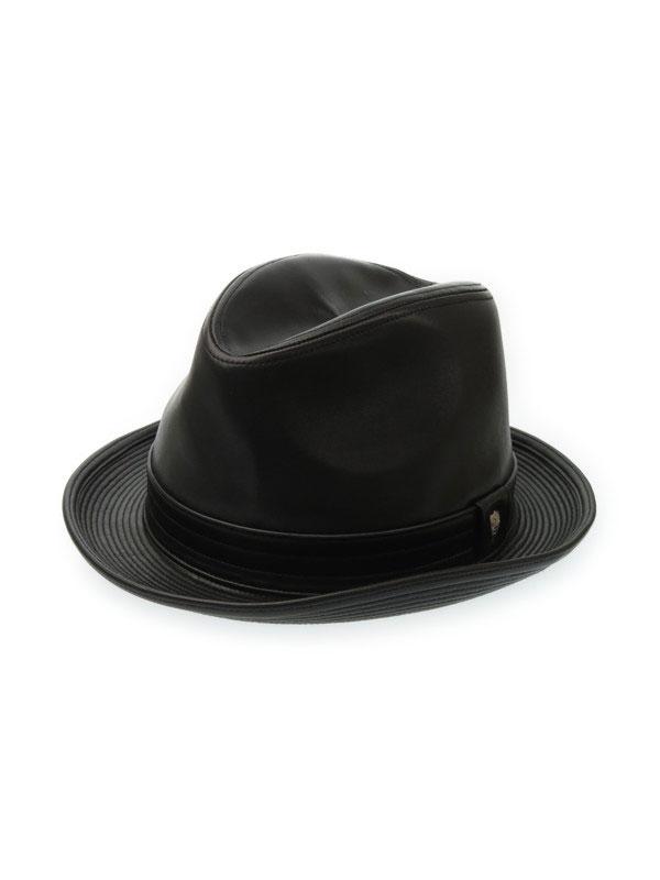 【DAKS】ダックス『中折れレザーハット size58cm』メンズ 帽子 1週間保証【中古】