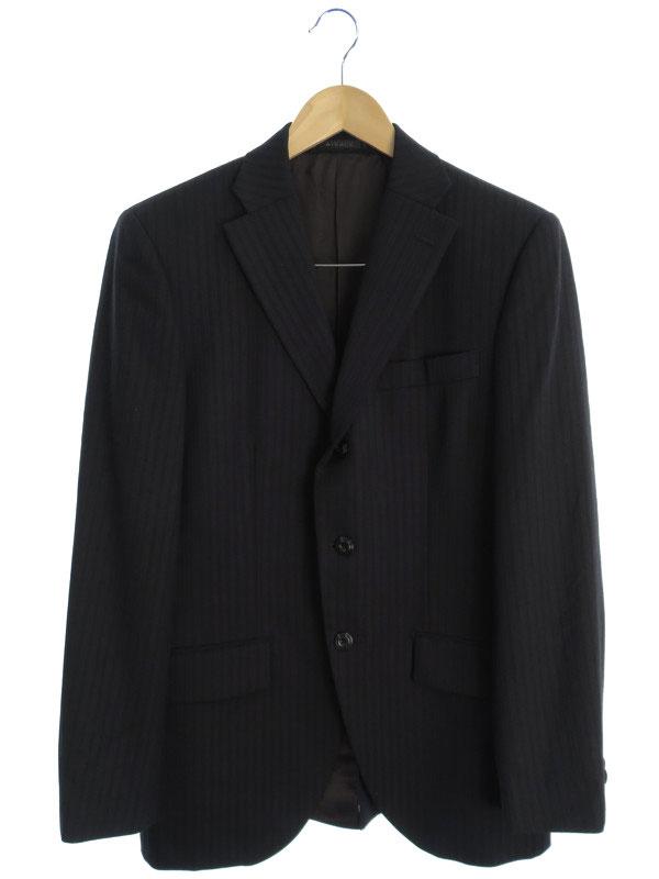 【MONSIEUR NICOLE】【上下セット】ムッシュニコル『ストライプ柄スーツ size48』メンズ セットアップ 1週間保証【中古】