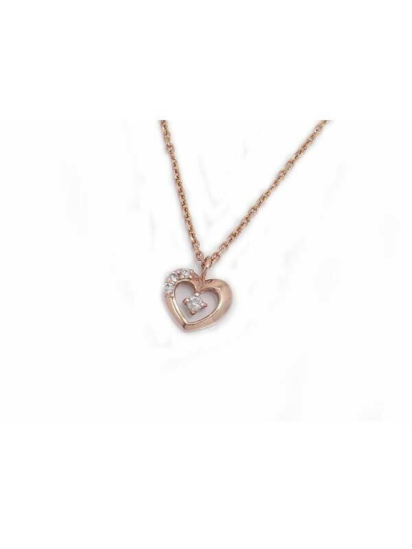 セレクトジュエリー『K10PGネックレス ダイヤモンド0.03ct ハートモチーフ』1週間保証【中古】