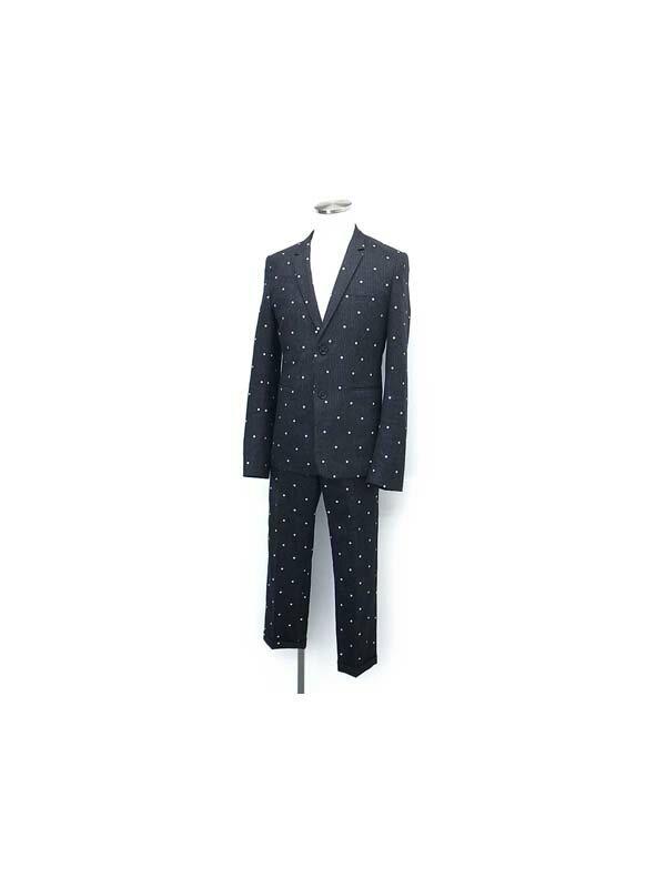 【Dior Homme】【2釦】【水玉模様】ディオールオム『ドット柄 2Bスーツ上下セット size44』メンズ セットアップ 1週間保証【中古】